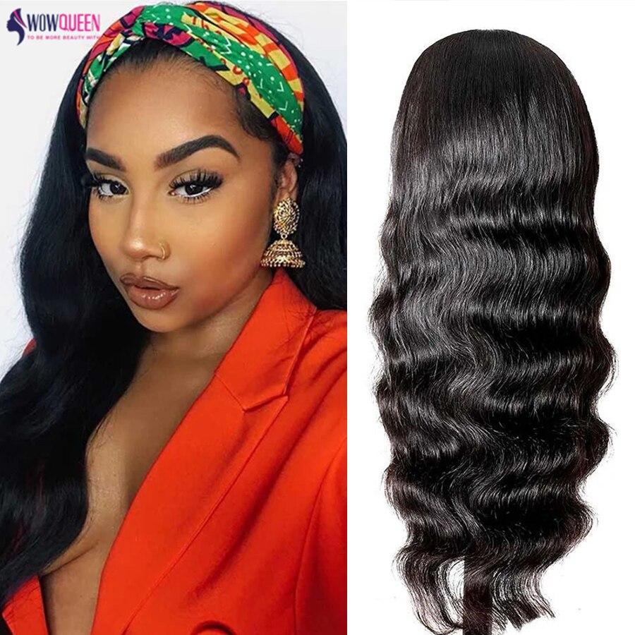 30 Inch Body Wave Headband Wig Human Hair Wigs Wowqueen Brazilian Hair Headband Scarf Wigs Top Quality Remy Hair Non-Lace Wigs